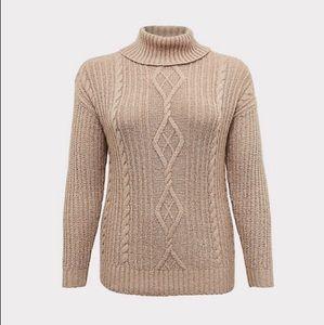 TORRID Light Brown Turtleneck Fisherman Sweater